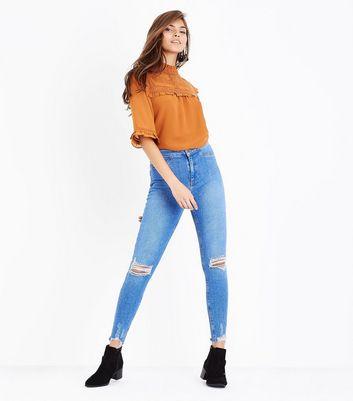 Blue Ripped Knee Fray Hem Skinny Jenna Jeans