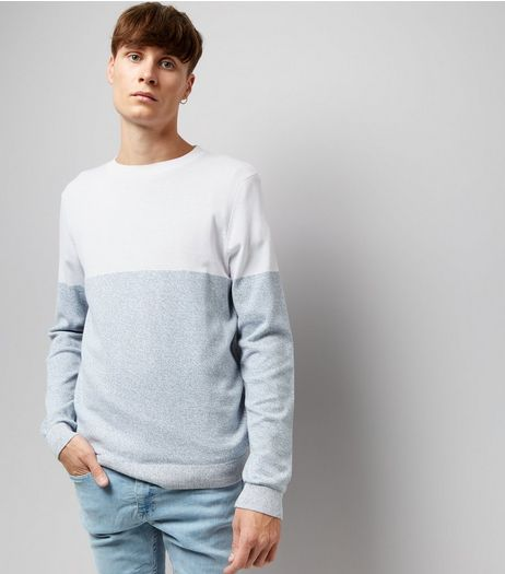 White Colour Block Crew Neck Jumper  | New Look