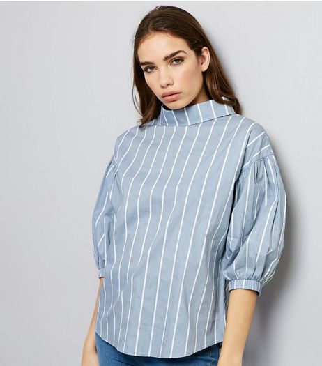 Light Grey Stripe 3/4 Sleeve Top  | New Look