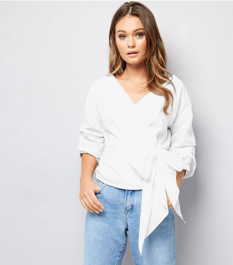 White Ruched Sleeve Tie Front Top  | New Look