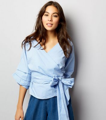 Blue Gingham Wrap Front Tie Waist Ruched Sleeve Top