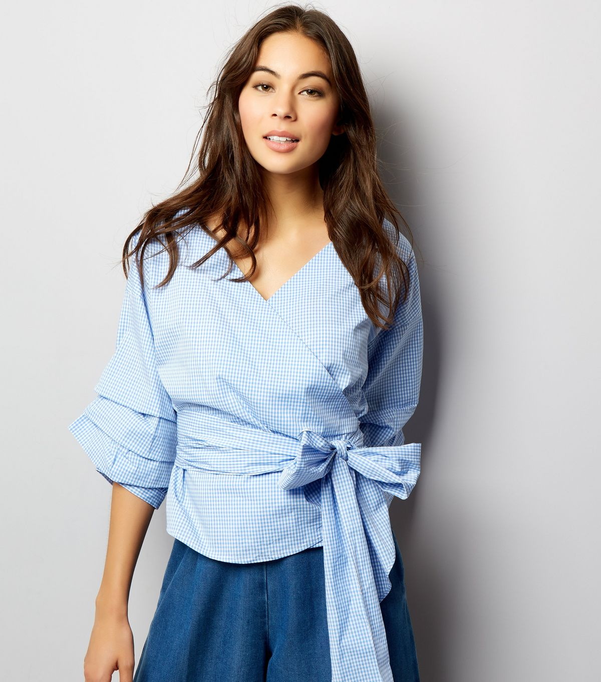Blue Gingham Wrap Front Tie Waist Ruched Sleeve Top | New Look