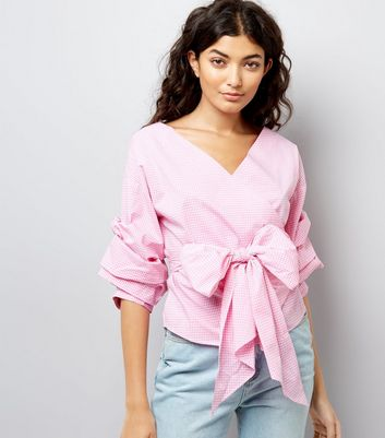 Pink Gingham Wrap Front Tie Waist Ruched Sleeve Top
