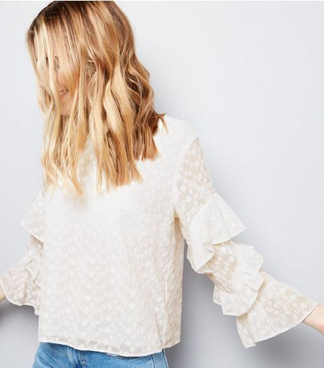 Cream Floral Embroidered Chiffon Tiered Frill Sleeve Top | New Look