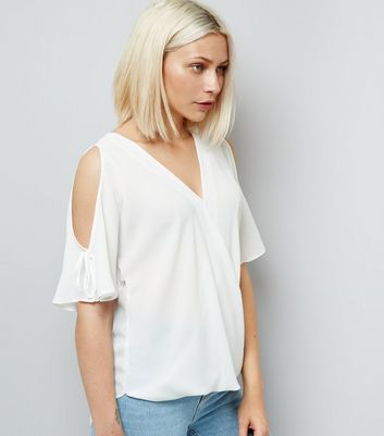 White Cold Shoulder Tie Sleeve Top
