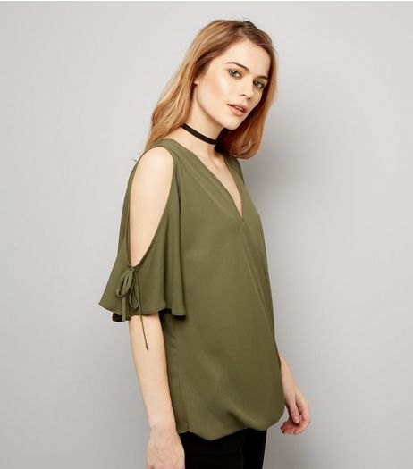 Khaki V Neck Wrap Front Cold Shoulder Top  | New Look