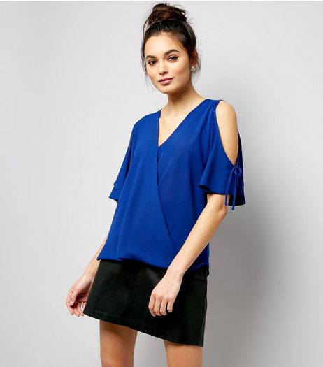 Blue Tie Cold Shoulder Top  | New Look