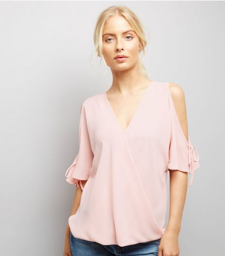 Pink Cold Shoulder Tie Sleeve Top  | New Look