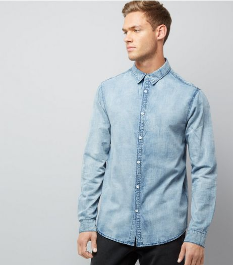 Blue Acid Wash Long Sleeve Denim Shirt | New Look