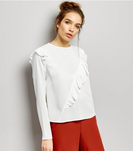 White Asymmetric Frill Trim Long Sleeve Top | New Look