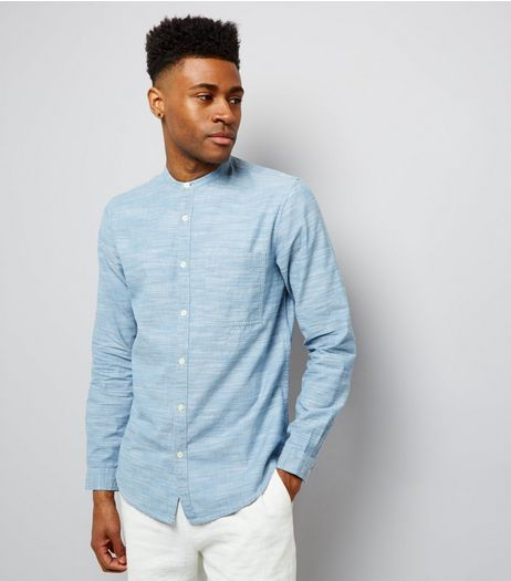 Blue Chambray Long Sleeve Grandad Collar Shirt | New Look
