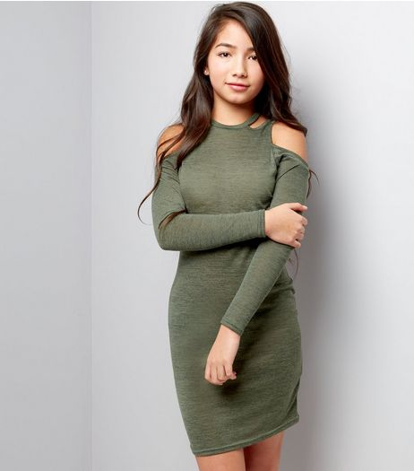 Teens Khaki Fine Knit Cut Out Cold Shoulder Bodycon Dress | New Look
