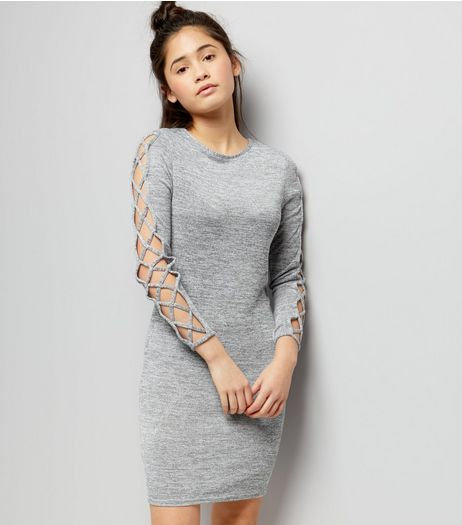 Teens Grey Fine Knit Lattice Sleeve Bodycon Dress | New Look