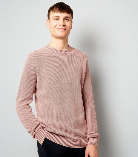 Pink Acid Wash Ribbed Jumper | New Look