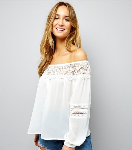 White Crochet Lace Trim Bardot Neck Top  | New Look