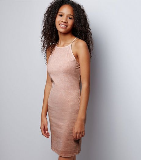Teens Pink Acid Wash Bodycon Dress | New Look