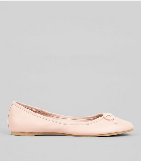 Pink Bow Front Ballet Pumps | New Look