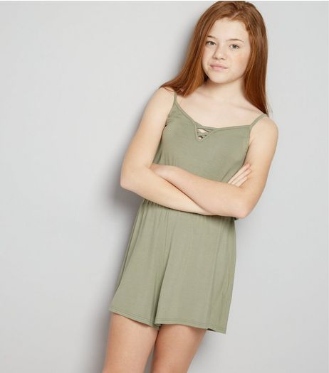 Khaki Lattice Front Sleeveless Playsuit  | New Look