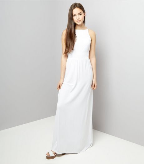 Teens White Sleeveless Shirred Waist Maxi Dress | New Look