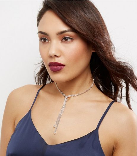 Crystal Cross Front Diamanté Necklace  | New Look