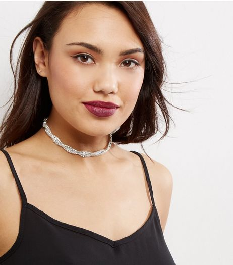 Silver Crystal Twist Choker | New Look