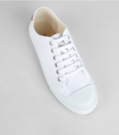 White Canvas Lace Up Trainers | New Look
