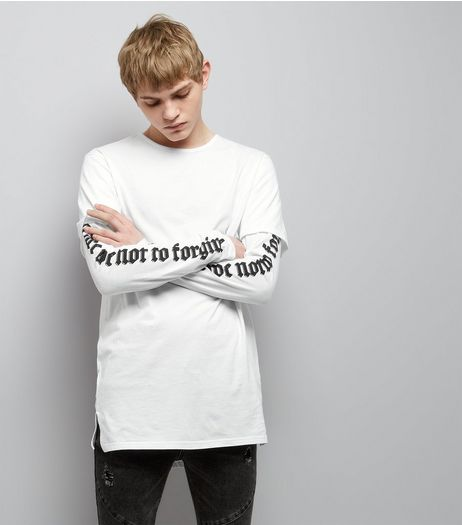 White Layered Forgive Print Sleeve Longline T-Shirt | New Look