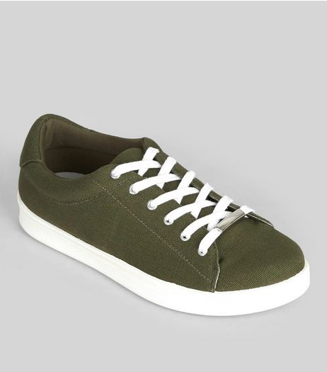 Khaki Canvas Contrast Sole Metal Bar Trim Trainers  | New Look