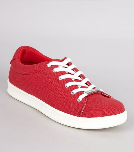 Red Canvas Lace Up Metal Trim Trainers | New Look