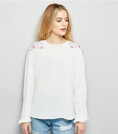 White Floral Embroidered Trim Cuffed Sleeve Top  | New Look
