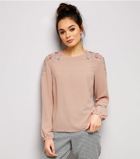 Shell Pink Floral Embroidered Trim Cuffed Sleeve Top | New Look