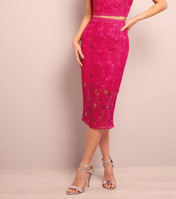 Bright Pink Lace Midi Pencil Skirt