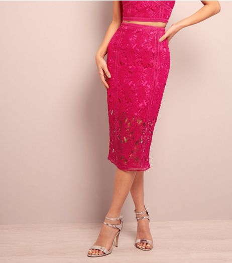 Bright Pink Lace Midi Pencil Skirt  | New Look