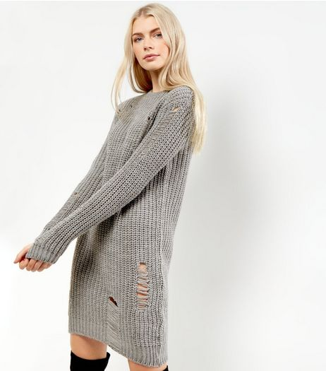 Grey Chunky Ladder Knit Dress | New Look