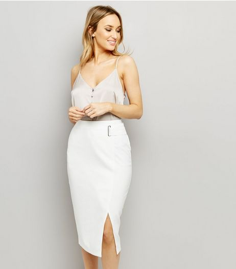 White Wrap Front Midi Skirt  | New Look
