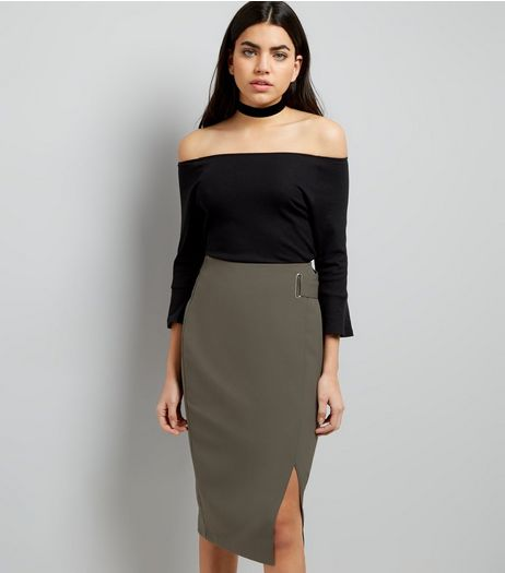 Khaki Wrap Front Midi Skirt  | New Look
