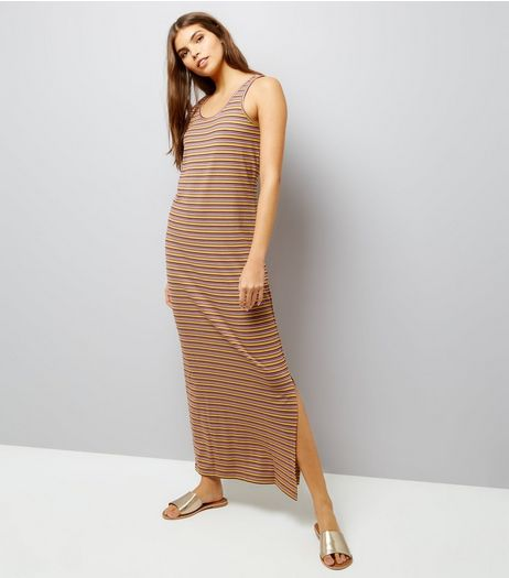 Noisy May Orange Stripe Lattice Back Maxi Dress | New Look