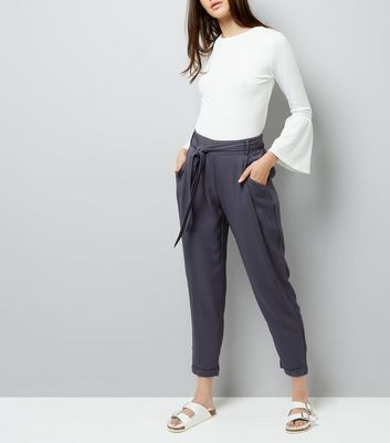 Charcoal Grey Tie Waist Trousers