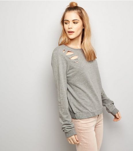 Noisy May Pale Grey Ripped Cropped Jumper  | New Look
