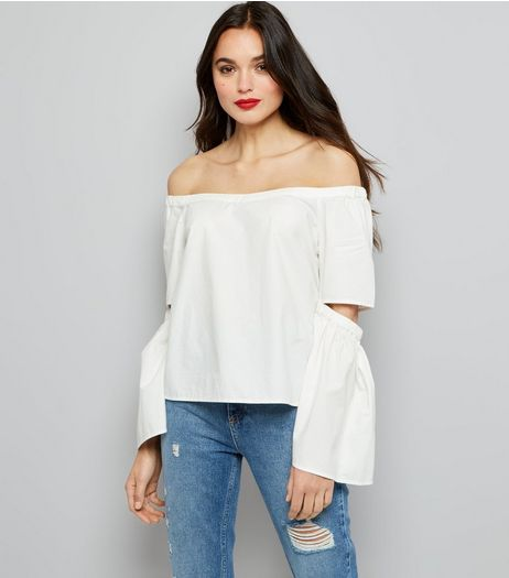 Noisy May White Cut Out Bardot Neck Top | New Look