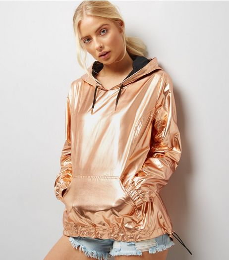 Rose Gold Metallic Overhead Anorak  | New Look