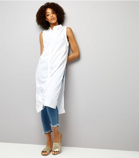 Noisy May White Sleeveless Longline Shirt  | New Look