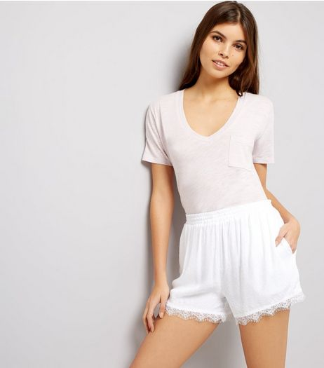 White Jacquard Textured Lace Hem Shorts | New Look