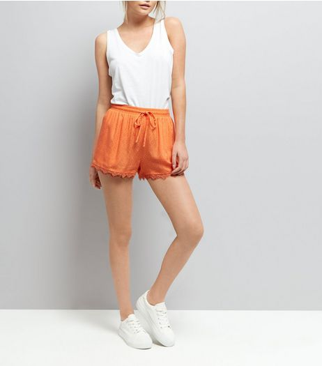 Bright Orange Lace Trim Shorts  | New Look