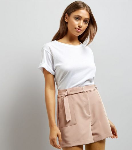 Shell Pink D Ring Buckle Shorts | New Look