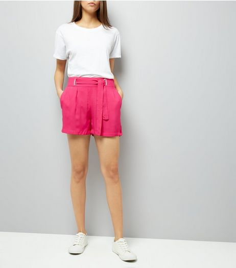 Pink Tie Waist Shorts | New Look
