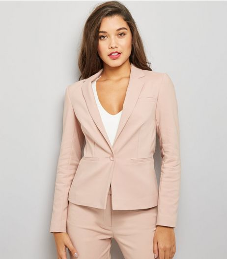 Pink Premium Fitted Suit Jacket | New Look
