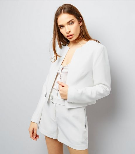 White Textured Cropped Jacket  | New Look