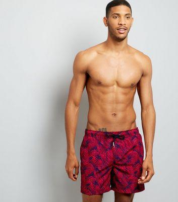 Navy Tropical Print Swim Shorts