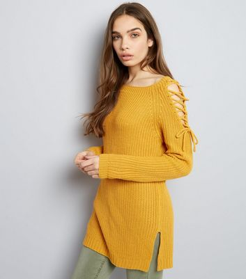 Yellow Lace Up Shoulder Jumper
